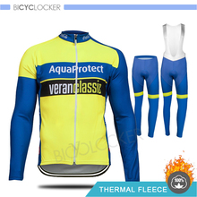 Pro Team 2020 Men Clothing Winter Cycling Kit Thicken Thermal Fleece Warm Long Sleeve Jersey MTB Clothes 19D Gel Pad Pants Set