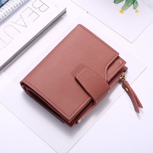 2020 Women's short wallet Korean version of the vertical buckle card package multi-function three-fold coin purse