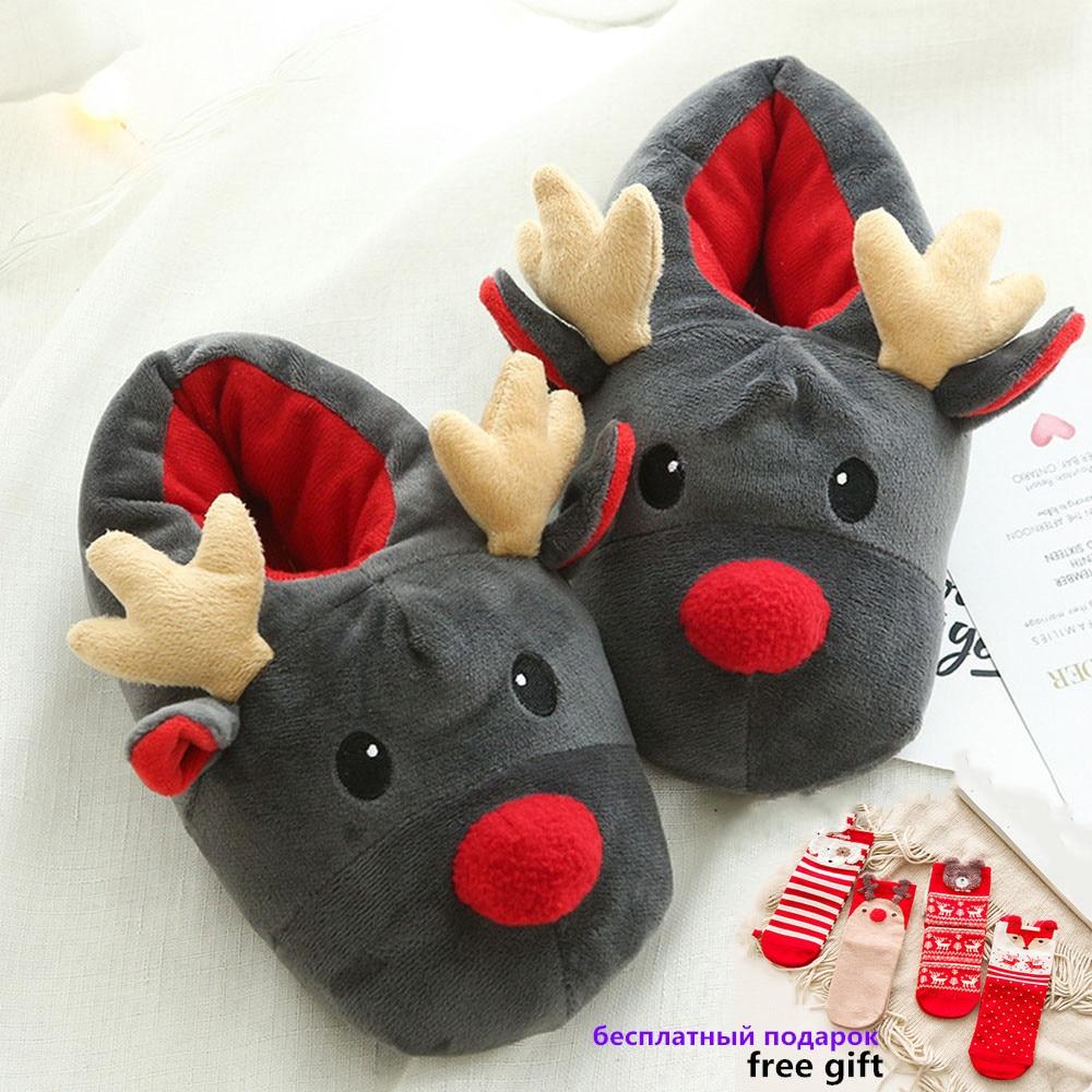 KESMALL New Hot Womans Shoes Christmas Deer Winter Flock Plush Warm Indoor Floor Cotton Slippers Home Slippers WS171 in Slippers from Shoes