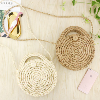 [BXX] Handmade Woven Round Handbag 2020 Spring Summer Vintage Straw Rope Knitted Messenger Bag Lady Bag Summer Beach Totes HK808 3