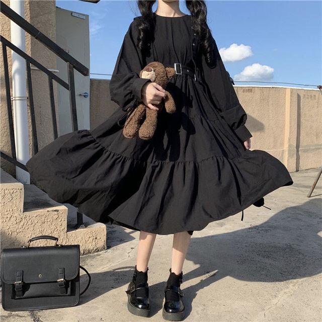 QWEEK Vintage Lolita Gothic Dress 2021 Japanese Harajuku Sweet Lolita Streetwear Women Dress Gothic Punk Long Sleeve Dress Women 2