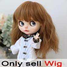 9-10 inch Blyth Wig Light Brown Curly Hair 26169(China)
