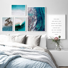 Blue Wave Coconut Tree Beach Lake Surface Wall Art Canvas Painting Nordic Posters And Prints Pictures For Living Decor