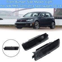 2Pcs Front Bumper Side Marker Light for V W MK6 G olf/J etta Sportwagen 10-14 A Pair of Black Car 2009-2013