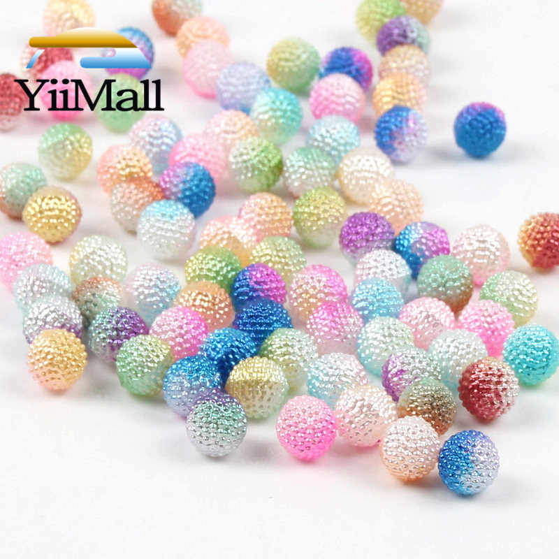 50 8mm Round Acrylic AB Mixed Color DIY Loose Beads Jewelry Necklace Making Lot