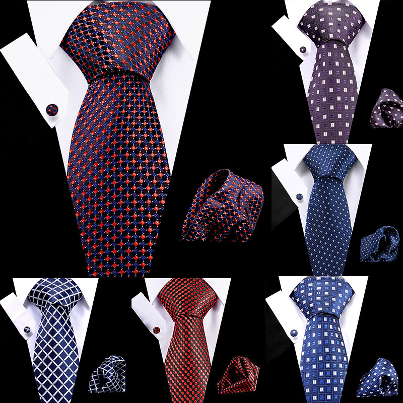 Men's Ties Red Dot Stripe 7.5cm 100% Silk Necktie Handkerchief Cuffink Set Flomal Dress Accessories Wedding Party Tie
