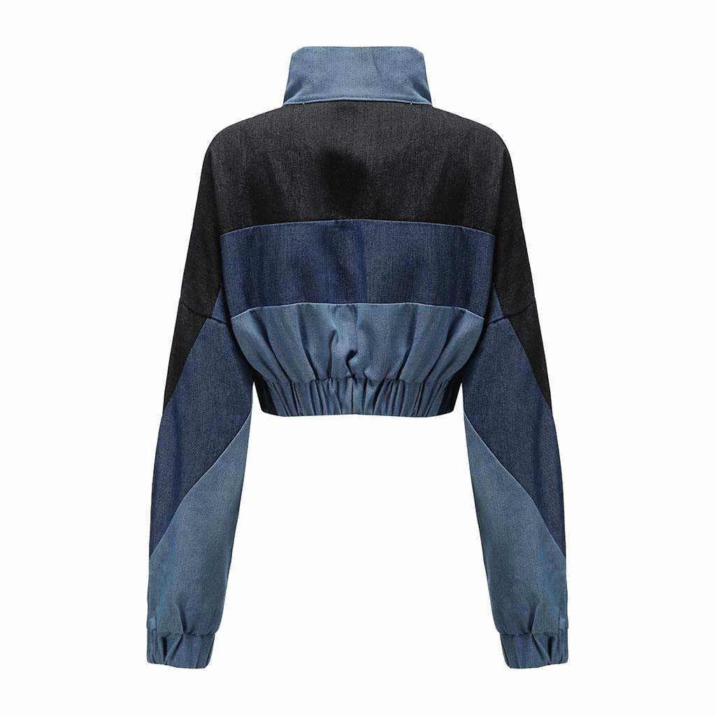 2019 Womail Denim Lange Mouw Corduroy Vrouwen jas Patchwork Herfst vrouwen Jas plus size vrouwen Rits Slim fit vrouwelijke jas