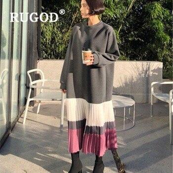 RUGOD Chic winter women dress 2019 elegant solid round collar straight loose ladies dresses vestido Fashion thicken