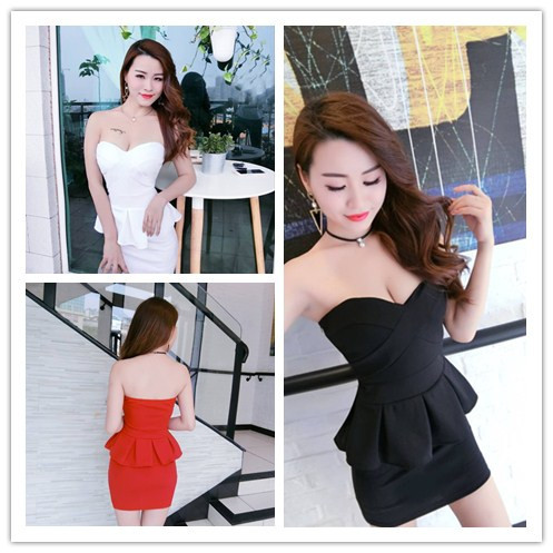 2019 women's nightclub sexy wrapped chest backless waist pleated ruffled covered belly bag hips tube top dress image