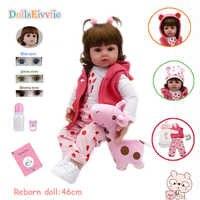 19 cali miękkiego silikonu 46cm reborn bebe doll boncas realistyczne zabawki dziewczyna reborn lalki dla dzieci boże narodzenie urodziny prezent zabawka