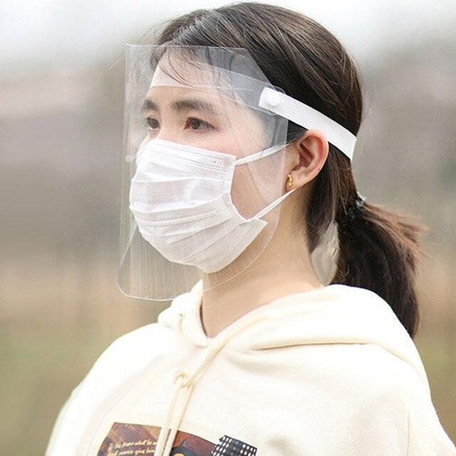 Adjustable Dustproof Mask Full Face Shield Clear Anti Saliva Spitting Face Safety Visor Mask for Men Women Face Eye Protection