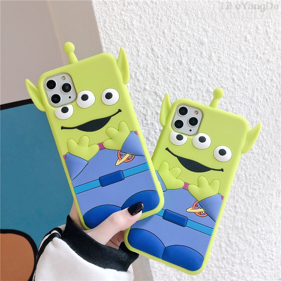 <font><b>3D</b></font> Cute <font><b>Cartoon</b></font> Toy Story Alien Phone Case For <font><b>iPhone</b></font> 6 6s 7 8 Plus X XR XS 11 Pro Max Soft Silicone Rubber Cover <font><b>Fundas</b></font> Coque image