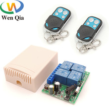 AC 85V~220V 10Amp 2200W 4CH 433MHz rf Remote Control Switch Wireless Relay Receiver Controller for Garage\ Door\  LED\ Bulb