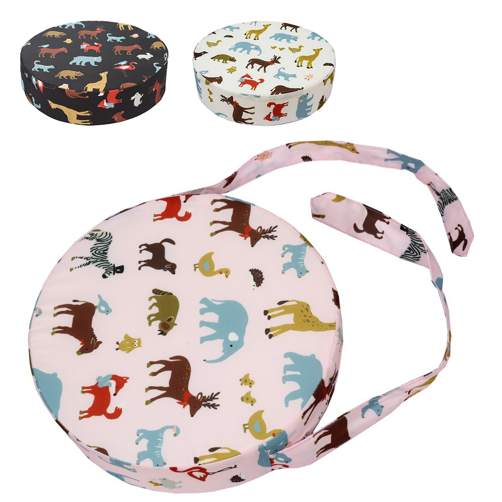 Round Shape With Strap Heightening Dining Home Booster Seats Washable Animal Printed Kids Thickened Chair Cushion Dismountable