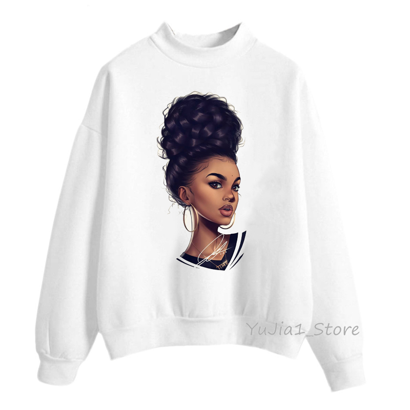New Arrival 2019 Melanin Poppin Hoodies Women Clothing Beautiful Black Curly Hairs Girl Printed Sweatshirt Women Sudadera Mujer