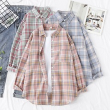 Plaid Shirts Tops Women's Clothing Ladies Blouses Pink Loose Boyfriend-Style Casual Cotton