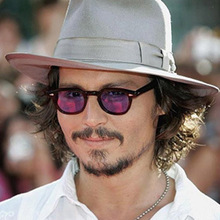 Fashion  Small Style Round Sunglasses Johnny Depp Men Women Clear Tinted Lens Brand Design Party Show Star Sun Glasses De Sol