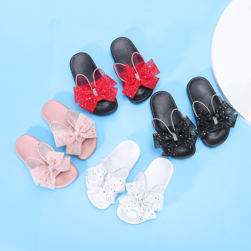 Girl Slippers Kids Summer Lace Bow-tie Children Home Slipper With Rabbit Ears Cute Kids Slippers For Girls Indoor Slides D02173
