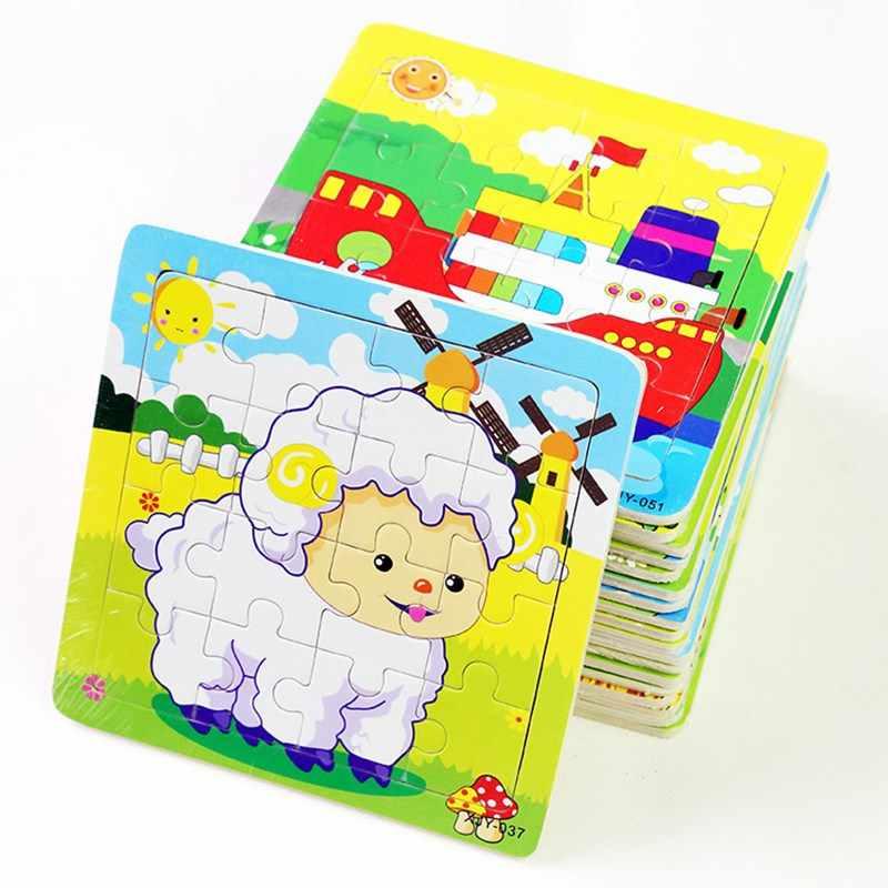 פאזלים מעץ לילדים צעצועים חינוכיים תינוק צעצועי 3D קריקטורה בעלי החיים כלב פנדה כבשים נמר בקר צפרדע רכבת פאזל צעצועים מתנות