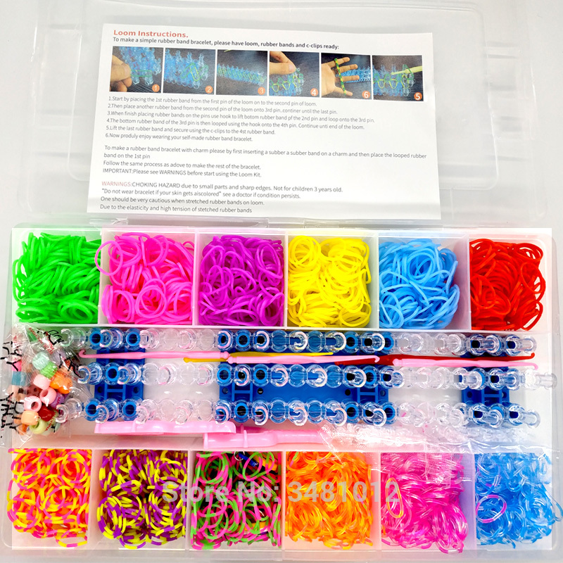 1800pcs Colorful Rubber Loom Bands Elastic DIY set Box Girls Gift Weaving Bracelet Tool Kit Kids Toys for Children 7 8 10 Years