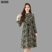 Print Fashion Women Dress 2019 Turn-down Collar Long Sleeve Autumn Winter Pockets Casual Dress Womans A-line Lady Office Dresses oxiuly women autumn winter long sleeve a line dress plaid houndstooth dress lady casual office vintage rockabilly a line dresses