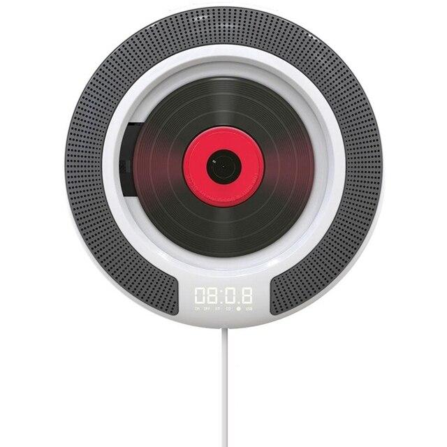 مشغل أقراص مضغوطة محمول مع سماعات بلوتوث قابلة للتركيب على الحائط وراديو FM مدمجة HiFi مع جهاز تحكم عن بعد سماعة رأس