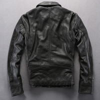 Vintage genuine black motorcycle men's cowskin leather coat for men real skin wind jacket