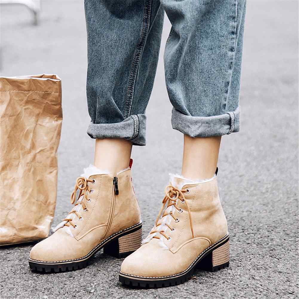 BONJOMARISA ขนาดใหญ่ขนาด 31-43 Elegant Booties สุภาพสตรีแพลตฟอร์มข้อเท้ารองเท้าผู้หญิง 2019 ฤดูหนาวเพิ่มขนสัตว์กว้างรองเท้าส้นสูงรองเท้าผู้หญิง