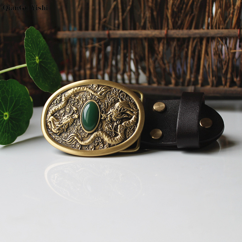 Double Dragon Play Pearl Brocade Solid Brass Belt Buckle Luxury Cowboy Buckles Fit 4cm Wide Belt Man Clothes Pants Accessories