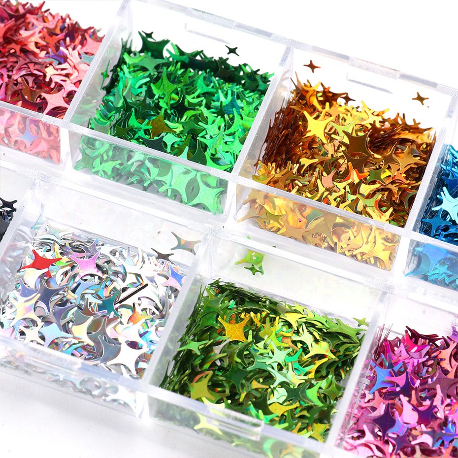Laser Star Glitter Nails Spangles Silver Black Nail Paillette Mixed Colorful Flakes Manicure UV Gel Nail Decor (7)