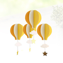 4pcs 3D Paper Pendant Hot Air Balloons Clouds Stars Hanging Ornaments for Home Decor (Orange Yellow and Beige)