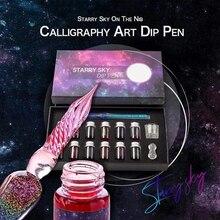 Innovative Handmade Crystal Glass Dip Pen Calligraphy Fountain Gift Set Ink
