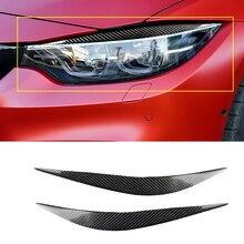 2pcs car Headlight Eye Lid Eyebrows Sticker UV-Protection Carbon Fiber 388mm For BMW F80 M3 F82 F83 M4 2014-2018 Car Accessories