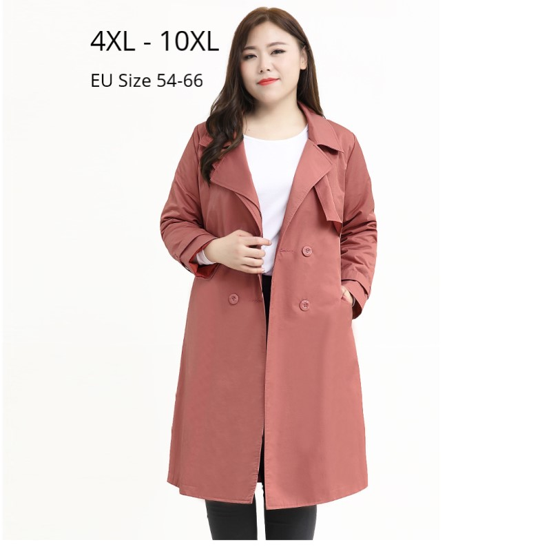 Plus Size 10XL 8XL 6XL 4XL Autumn Winter Long Sleeves Trenchcoat Office Lady Elegant Long Coat Female Oversize Windbreak Outwear