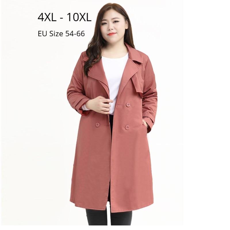 Plus Size 10XL 8XL 6XL 4XL Autumn Winter Long Sleeves Trenchcoat Office Lady Elegant Long Coat Female Oversize Windbreak Outwear