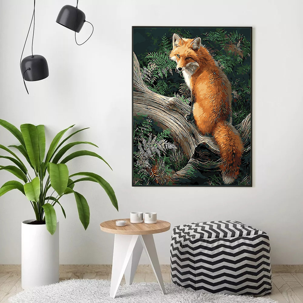 HUACAN Coloring By Numbers Fox Animals Kits Drawing Canvas DIY Pictures Oil Painting Hand Painted Gift Home Decor