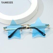 Yameize Модные солнцезащитные очки без оправы в форме звезды