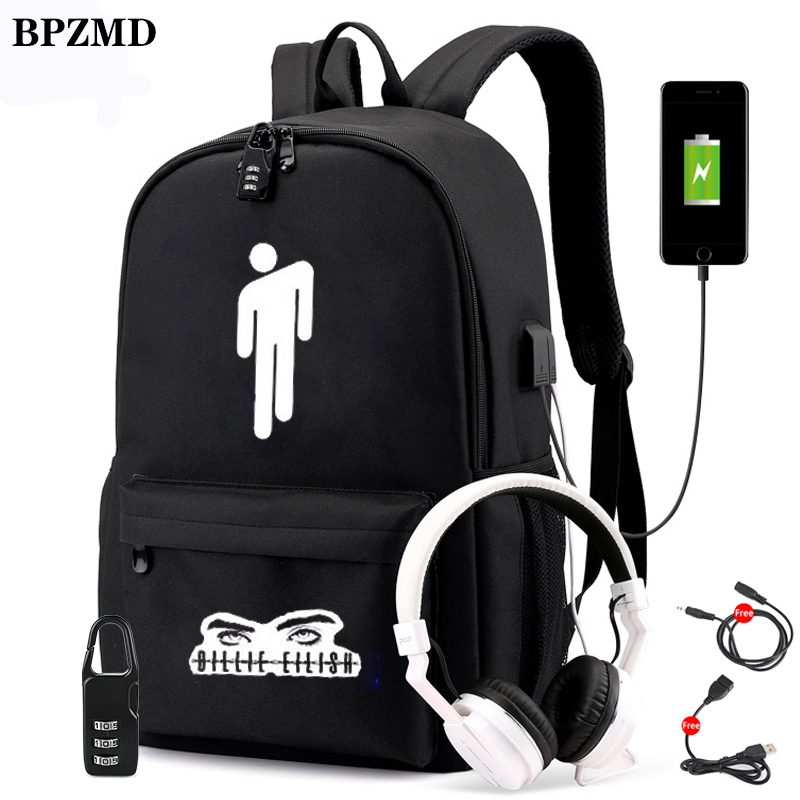 BPZMD Luminous Billie Eilish Anti-theft Laptop DJ Backpack For Teenager Boys Girls Student School Backpack Men Women Bags Rucksa