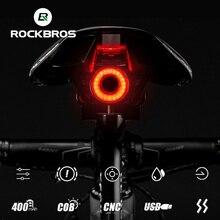 ROCKBROS Light Auto Start/Stop LED Bike IPx6 Waterproof Smart Brake Sensing Charging Cycling Taillight Bicycle Accessories
