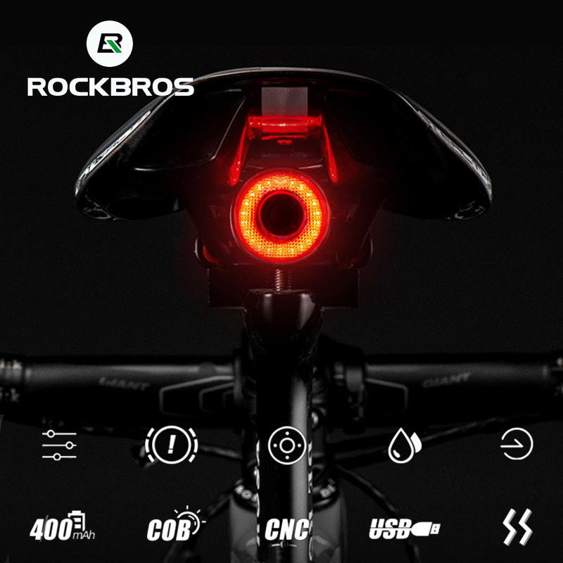 ROCKBROS Light Auto Start/Stop LED Bike IPx6 Waterproof Smart Brake Sensing Charging Cycling Taillight Bicycle Light Accessories