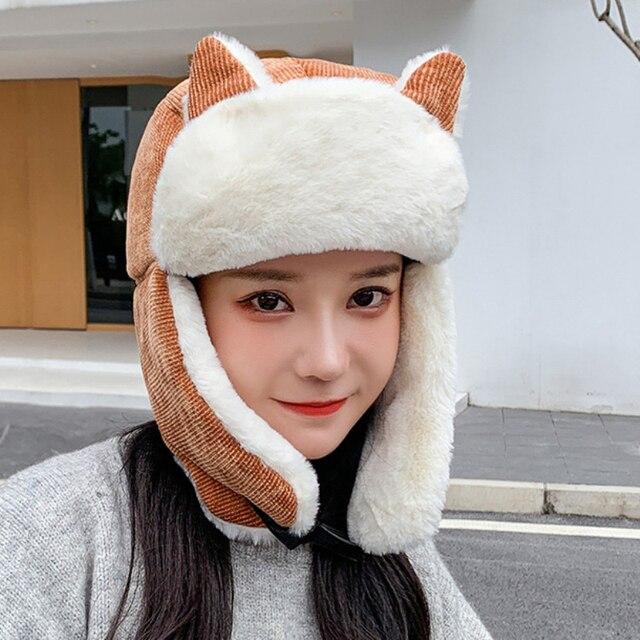 Фото ht3324 новая милая женская зимняя шапка с ушками женская толстая
