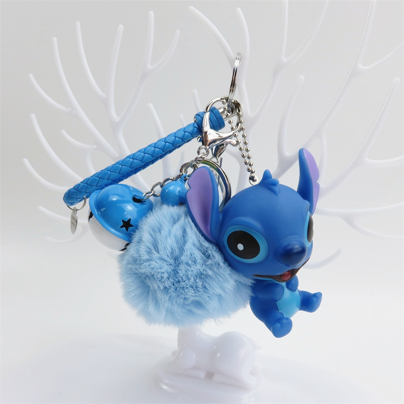 Cartoon stitch bear <font><b>plush</b></font> <font><b>toys</b></font> small pendant <font><b>key</b></font> <font><b>chains</b></font> soft stuffed dolls creative Valentine's day Christmas birthday gifts image