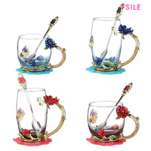 Glass Coffee Rose Personality Enamel Teacup Transparent Blue Cup-Set Heat-Resistant Household