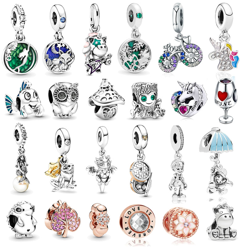 Boosbiy 2pc 2019 New Silver Color beads Pinocchio Pendant Charm Fit original Pandora bracelet DIY jewelry For Girl Kids Gift