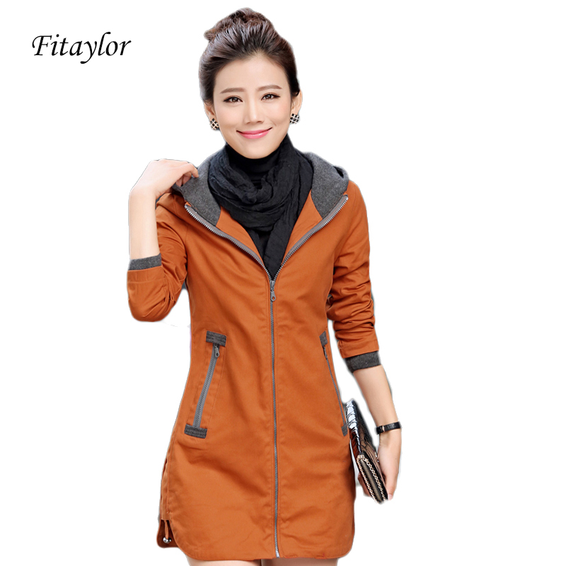 New Autunm Winter Women Trench Coat Slim Fashion Plus Size 5xl Medium-long Windbreaker Patchwork OL Hooded Outwear