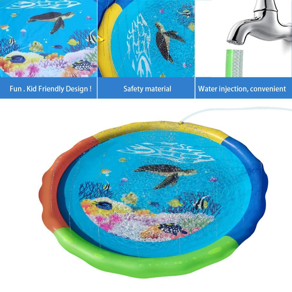 Baby Kids Spray Water Game Pad Cushion Outdoor Lawn Beach Water Spray Beach Mat Cushion Toys Kids Play Mats Sprinkler Pad Tub