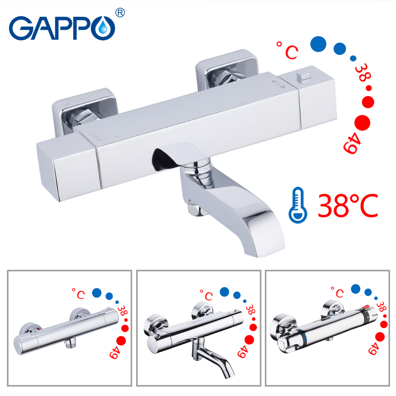 GAPPO Shower Faucets Bath Mixer With Thermostat Wall Mounted Shower Tub Faucet Thermostatic Water Mixer Bath Griferia