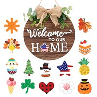 Perchero de madera para puerta intercambiable, ornamentos de decoración de bienvenida para el hogar, etiquetas decorativas para puertas, bricolaje
