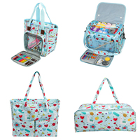 Bolsa de almacenamiento para lanas, bolsa de mano tejida de 4 estilos para hilo a ganchillo de hilo de lana, aguja de tejer y accesorios de costura de Color azul