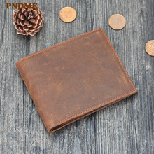 PNDME mens high quality crazy horse cowhide wallet retro simple genuine leather short thin brown credit card purse money bag